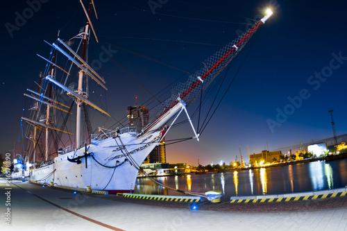 Photo  Sailboat inGdynia at Night - Poland