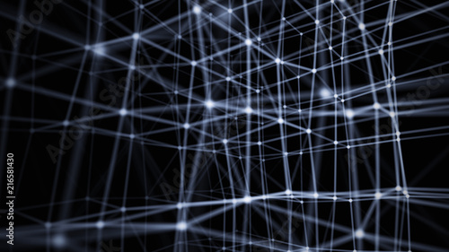 Fotografía  Abstract Particles Background. 3d rendering. Concept of Network