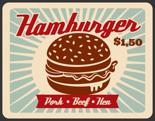 Fast Food Retro Poster With Hamburger Sandwich