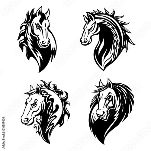 Photo Horse or mustang animal icons. Tattoo and mascot