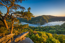 Sunset View Of The Potomac River, From Weverton Cliffs, Near Harpers Ferry, West Virginia.