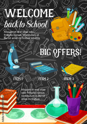 Poster Hoogte schaal Back to school sale promotion poster template