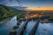 View Of Harpers Ferry, West Virginia At Sunset From Maryland Heights