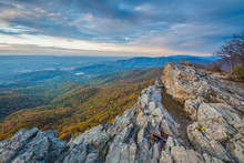 Autumn Sunset View From Little Stony Man Cliffs, Along The Appalachian Trail In Shenandoah National Park, Virginia