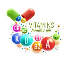 Vitamin Pill And Ball Poster, Multivitamin Design