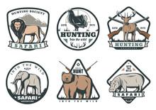Wild Animals And Birds Safari Hunting Retro Badges