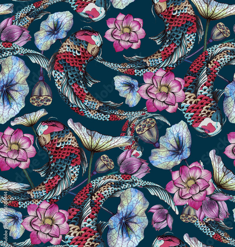 Seamless pattern with carp, and lotuses Fotobehang
