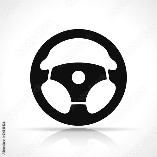Vector steering wheel black icon Fototapet