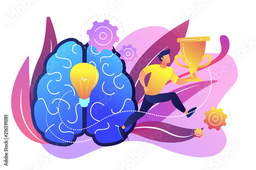 Obraz Brain with bulb and user jumps carrying cup. Challenge and move for success, confidence and winning competition, motivation and goals achievement concept, violet palette. Vector isolated illustration. - fototapety do salonu