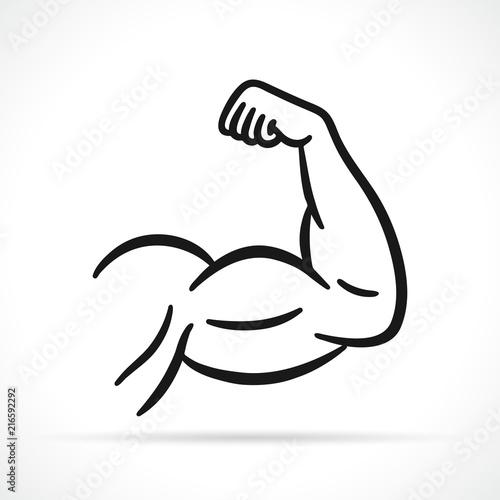 Photo Vector muscular arm black icon
