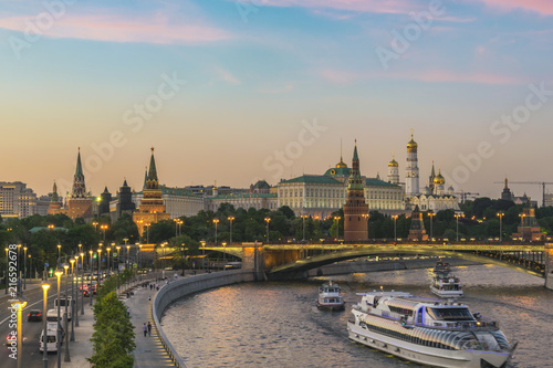 Keuken foto achterwand Aziatische Plekken Moscow sunset city skyline at Kremlin Palace Red Square and Moscow River, Moscow, Russia