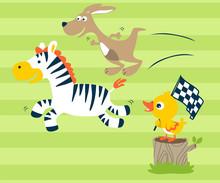 Vector Illustration Of  Racing Run Animals Cartoon