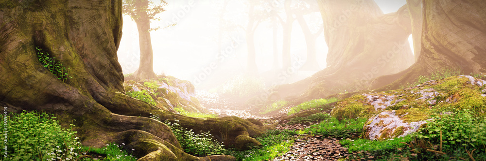Fototapeta path through the woods, magical fantasy forest at sunrise