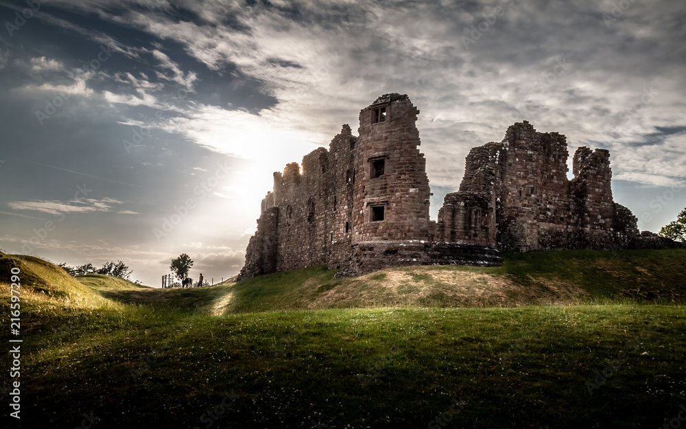 Fototapety, obrazy: Magical gorgeous moody view of Brough Castle in Cumbria, England UK