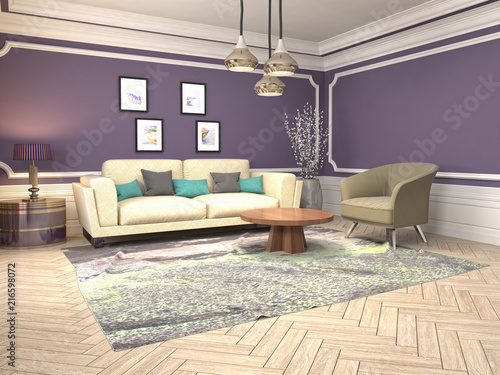 Photo Interior of the living room. 3D illustration