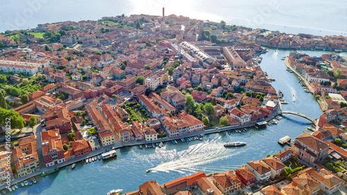 Fotografie, Obraz Aerial view of Murano island in Venetian lagoon sea from above, Italy