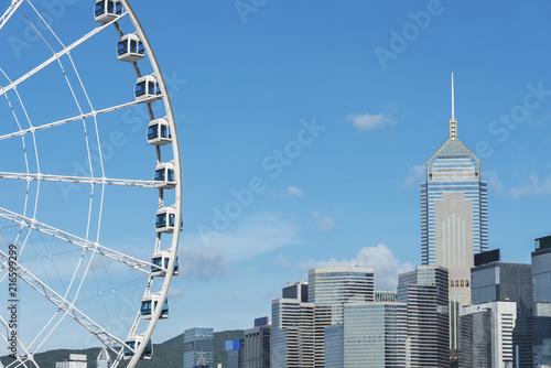 In de dag Aziatische Plekken Skyline of Hong Kong city