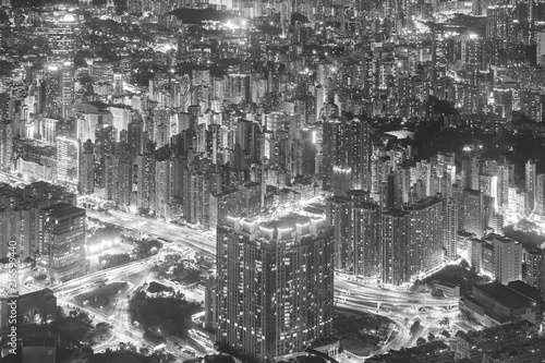Photo  Night scene of aerial view of Hong Kong City