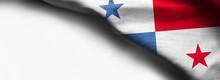 Fabric Texture Flag Of Panama On White Background