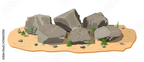 Pile of rock stone with grass on sand. Stones and rocks in variuos sizes. Set of different boulders. Vector illustration in flat style - fototapety na wymiar