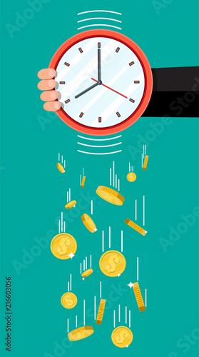Fotografie, Tablou Golden coins falling from clocks