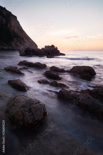 Foto op Canvas Cathedral Cove Sunset on Playa de La Gueirúa . Asturian Coast . Spain