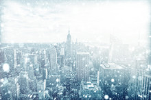 View Of Beautiful New York Skyline With Snow