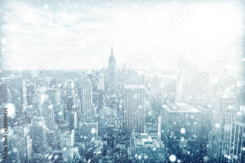 View of beautiful New york skyline with snow - 216604434