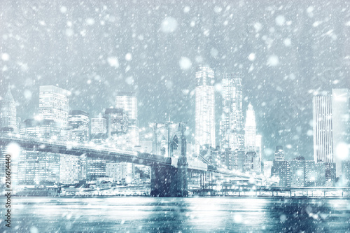 Fotobehang Amerikaanse Plekken View of New york skyline with snow