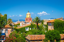 St Tropez, French Riviera. Old Town With Bell Tower.