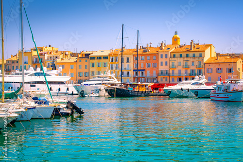 Valokuva Saint Tropez, South of France. Luxury yachts in marina.