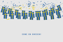 Sweden Garland Flag With Confetti On Gray Background, Hang Bunting For Sweden Celebration Template Banner.