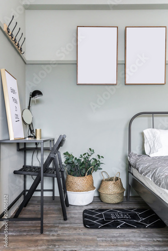 Cozy Green Bedroom Corner With Wooden Frames Decoration And Modern
