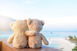 canvas print picture - Two teddy bears sitting sea view. Love and relationship concept. Beautiful white sandy beach in the summer.