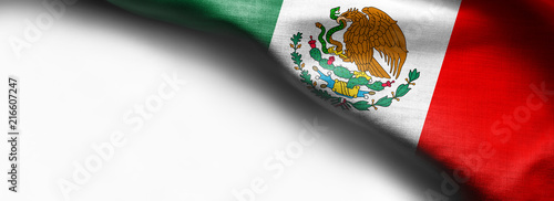 Fotografie, Obraz  Mexican waving flag on white background