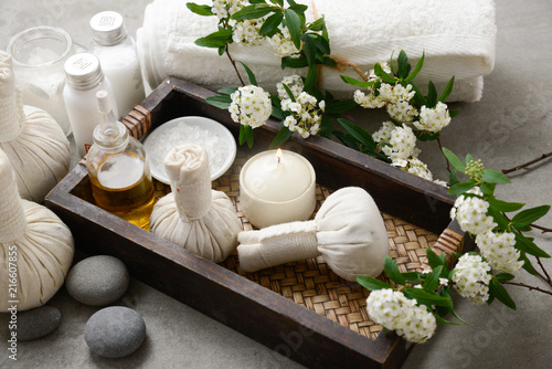 Spoed Foto op Canvas Spa Spa tropical setting on gray background
