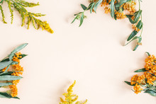 Autumn Composition. Frame Made Of Fresh Orange And Yellow Flowers On Pastel Beige Background. Autumn, Fall Concept. Flat Lay, Top View, Copy Space