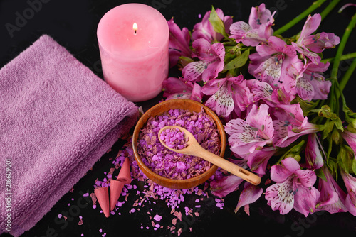 Poster Spa Spa background-towel, orchid, and spoon ,petals in bowl, candle
