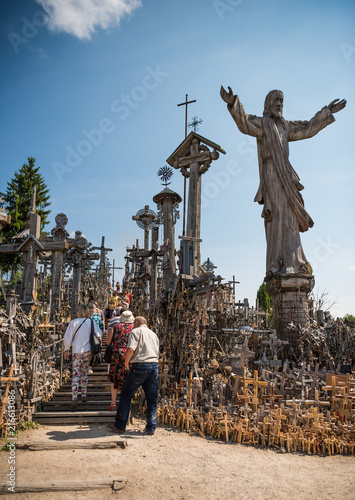Deurstickers Monument SIAULIAI, LITHUANIA - JULY 22, 2018: Hill of Crosses is a unique monument of history and religious folk art
