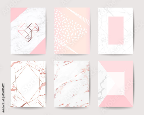 Pink And Rose Gold Marble Background Vector Collection