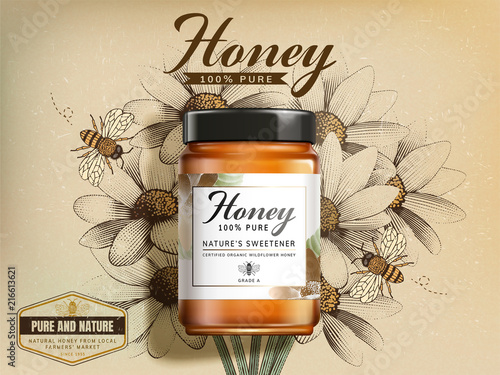 Stampa su Tela Top view of wildflower honey jar