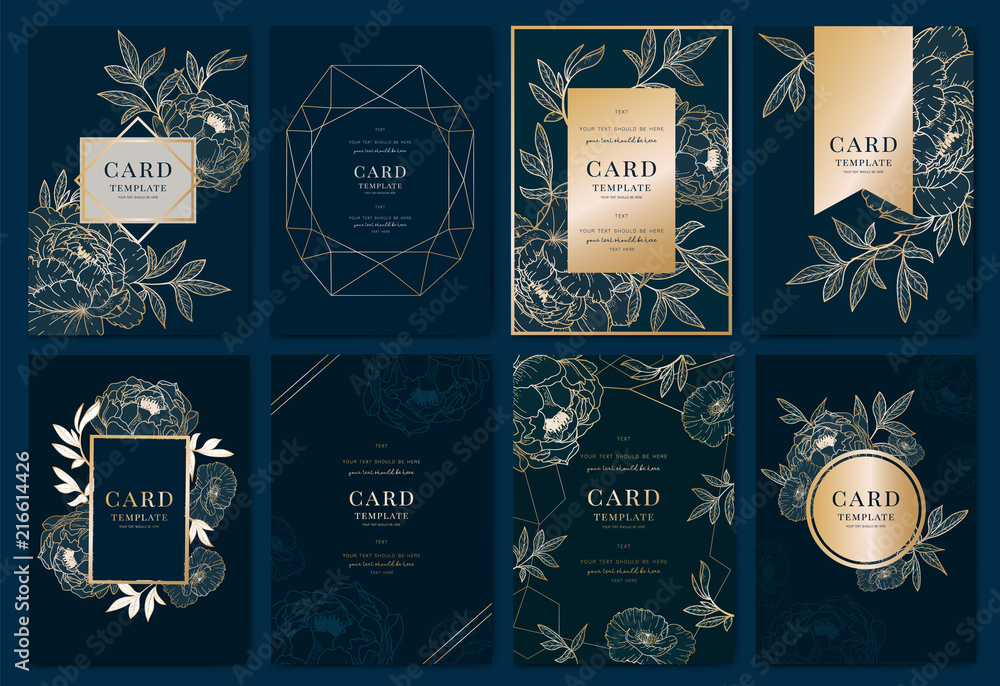 Fototapeta Wedding Invitation modern card Design in golden peony with   tropical palm leaf eucalyptus branches decorative on deep Navy blue background Vector elegant rustic template