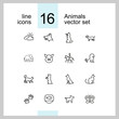 Animals icons. Set of line icons. Dog, elephant, fish bowl. Fauna concept. Vector illustration can be used for topics like nature, farm