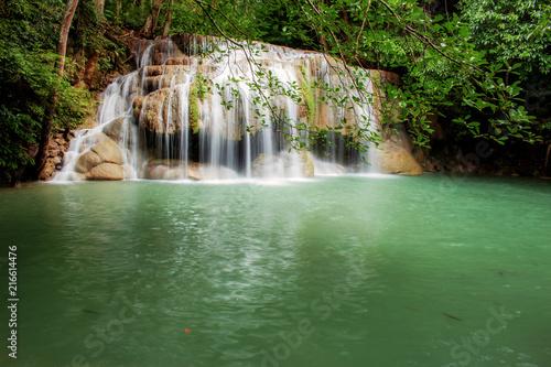 Poster Watervallen Erawan waterfall in the spring.