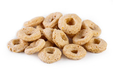 Healthy Cereal Rings On White ...