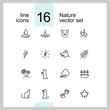 Nature icons. Set of line icons. Dog, lightning, houseplant. Environment concept. Vector illustration can be used for topics like ecology, nature