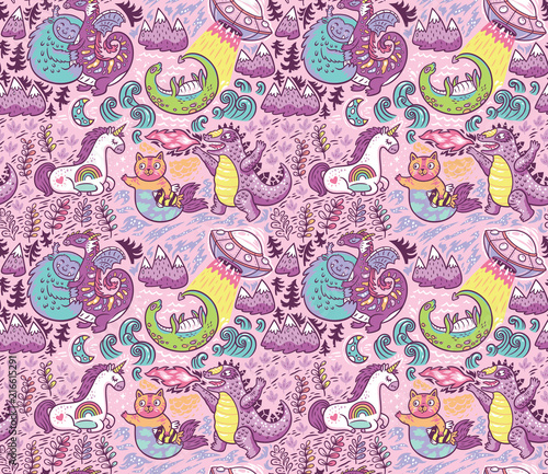 Valokuvatapetti Fantastic creatures, animals pattern. Vector cute background