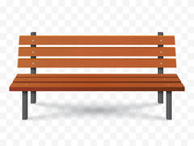 Vector Bench Isolated. Park Wooden Bench Illustration