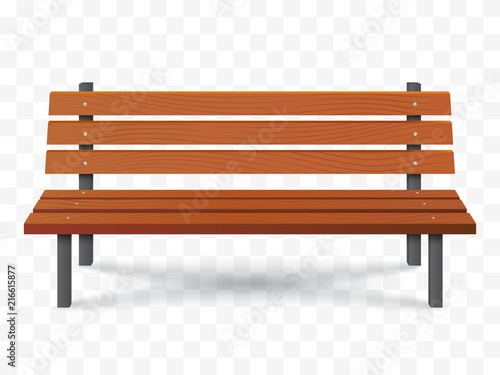 Photo Vector Bench isolated. Park wooden bench illustration