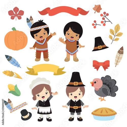 Native American Indian And Pilgrim Costume Boy Girl Thanksgiving Design Elements